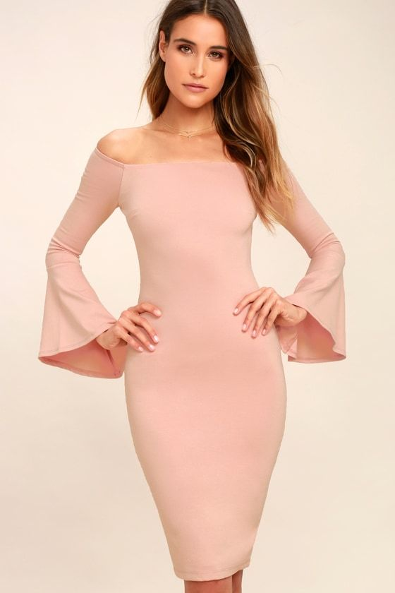 3d9c1867a5c5 Everything you could hope for has arrived in the stylish All She Wants Blush  Pink Off-the-Shoulder Midi Dress! Medium-weight stretch knit midi has an ...