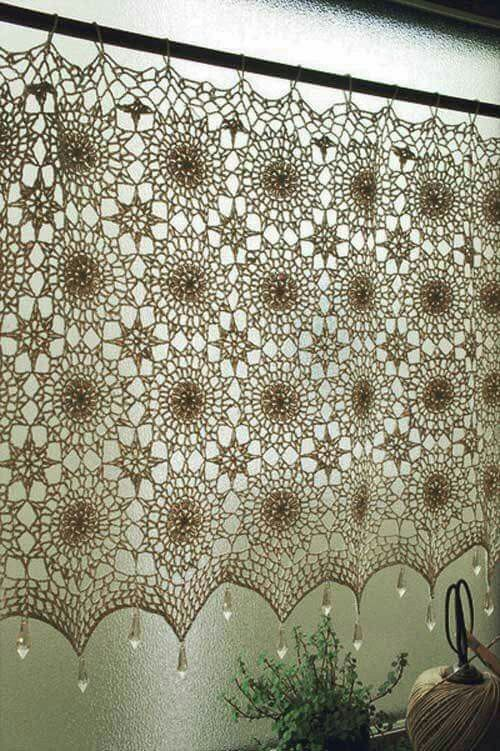 Lace doily curtain, Chrystal weight detail.