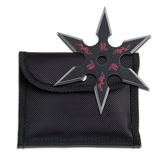 Dragon Throwing Star w/ Etching - 6 Points - Red & Black