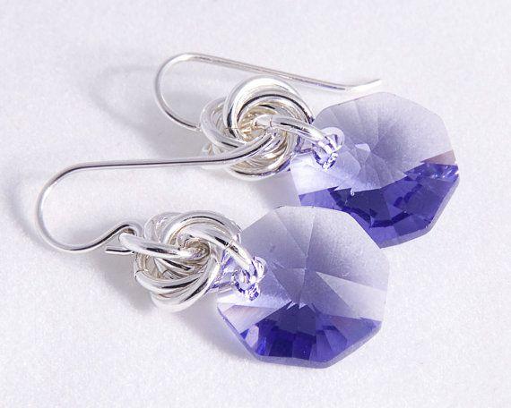 Swarovski Octagon and Love Knot Earrings by Lisa Wicker Designs, $29.00