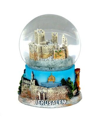 It only snows in Jerusalem once every few years, but with this wonderful hand painted souvenir, you can make it snow every day!