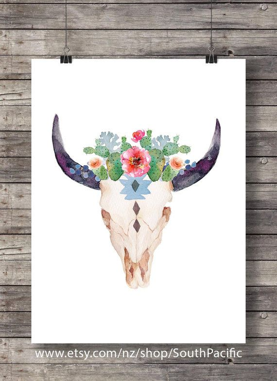 Watercolor succulents and cacti | Aztec tribal Bull Cow Skull | Printable southwestern watercolor skull wall art  - Instant download