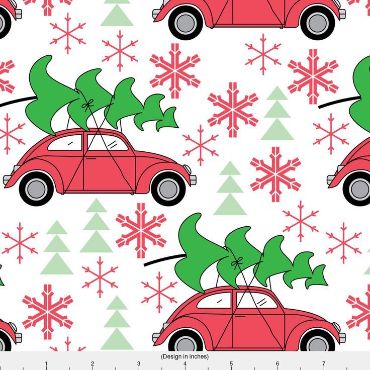 Vintage Christmas Fabric - Christmas Cars On White By Lilcubby - Vintage Christmas Car Red Green Cotton Fabric By The Yard With Spoonflower by Spoonflower on Etsy https://www.etsy.com/listing/518791860/vintage-christmas-fabric-christmas-cars