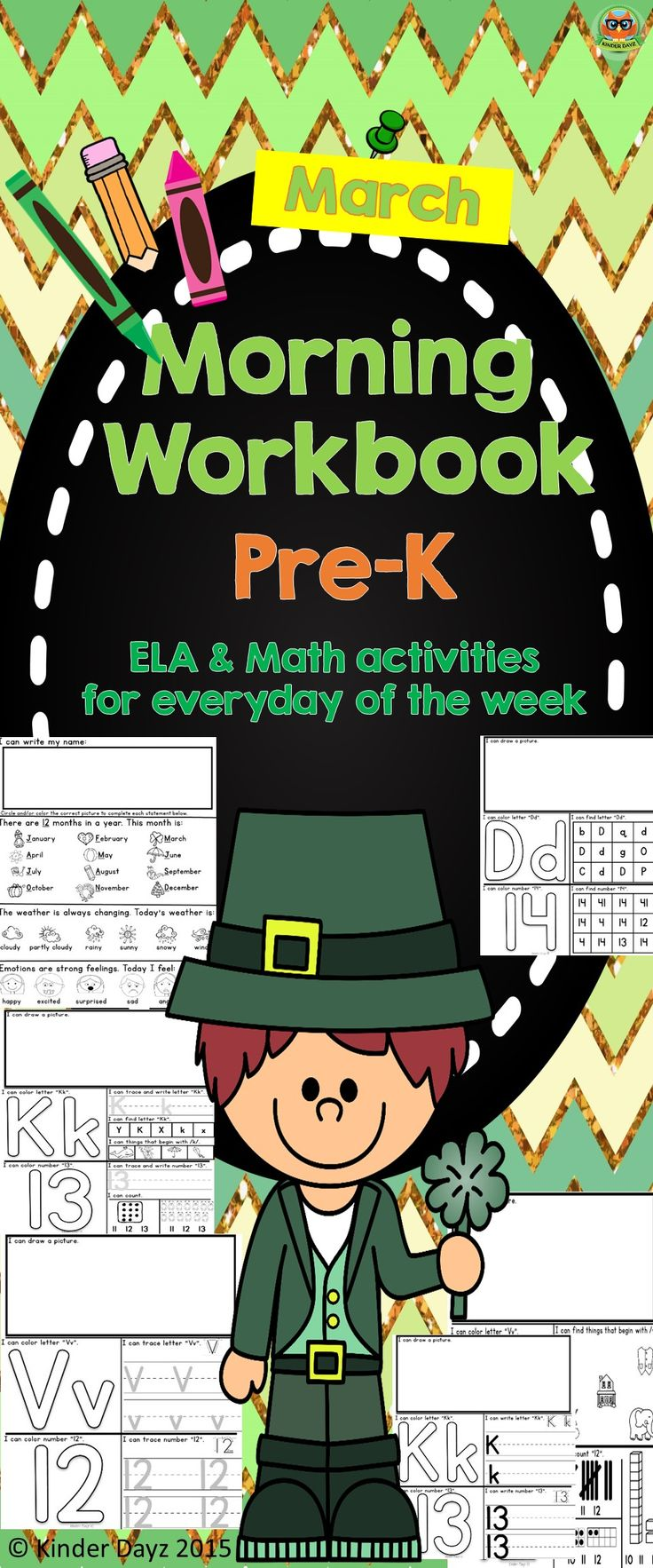 This morning's workbook was created for pre-k and/or kindergarten students. It contains 44 pages (2 pages every day) PLUS extras: St. Patrick's Day Book, Clover Color Review and St. Patrick's Themed Graph.