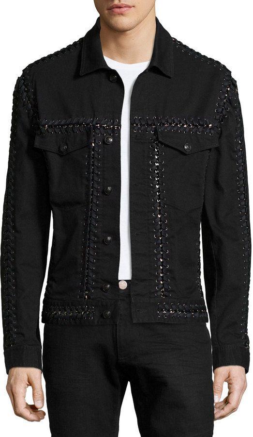 Versace Long-Sleeve Jacket W/Woven-Stitch Detail, Black