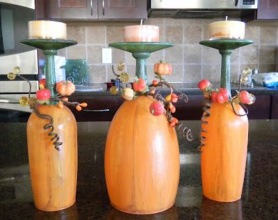 Wine glass pumpkins could also paint them to look like Jack O lanterns and at the Halloweeen party put glow sticks in them!!
