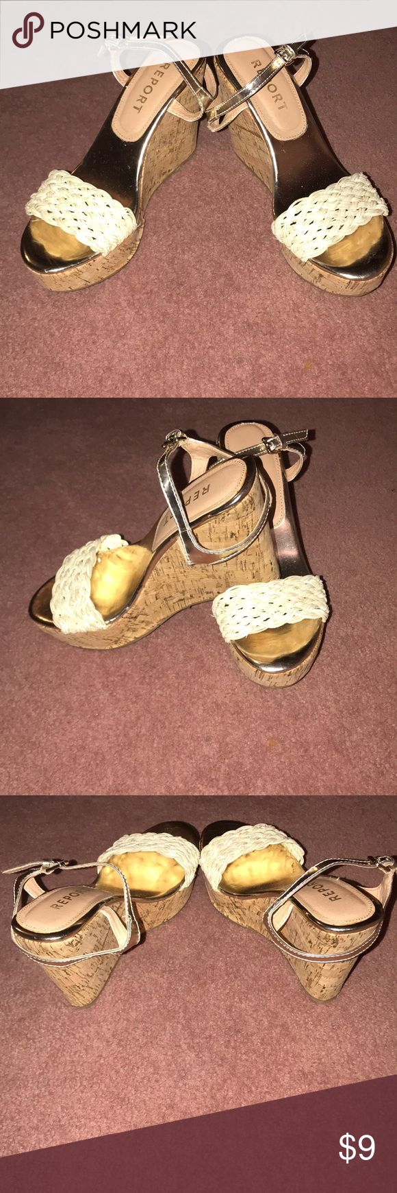 Gold wedge sandals Gold wedge sandals size 7 1/2 in good condition. Report Shoes Wedges