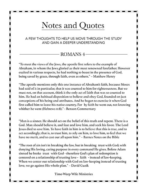 @Darlene Schacht (TimeWarpWife.com) Romans Bible study Notes and Quotes. Free printable resources available!