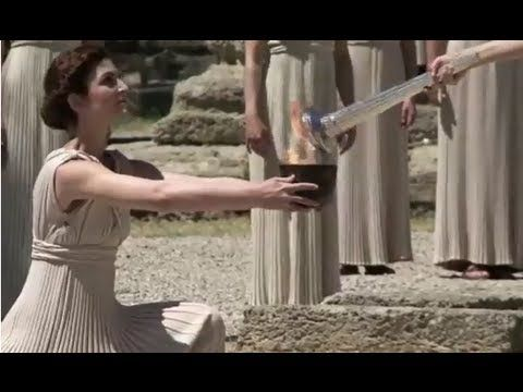 The Olympic Flame is lit in Ancient Olympia - London 2012