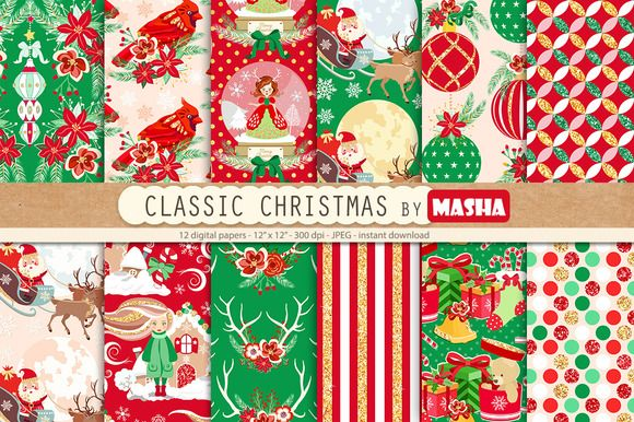 CLASSIC CHRISTMAS digital papers by Masha  Studio on @creativemarket