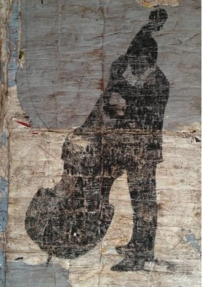 Contrabbassista, 2013  mixed medium on paper, cm 206x160