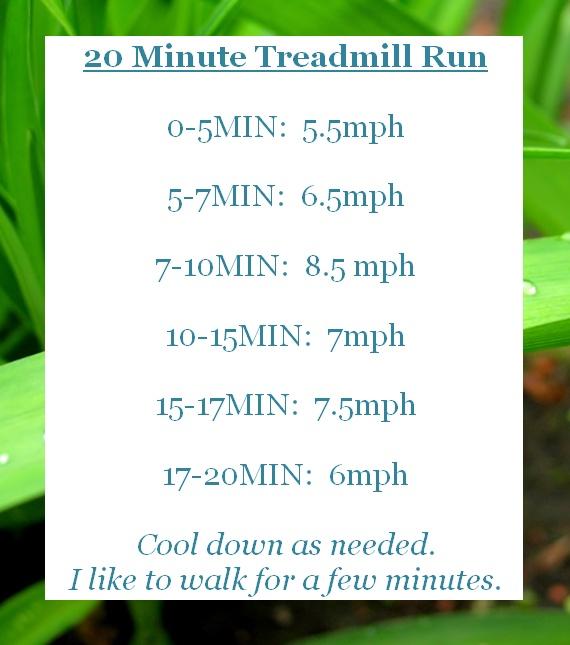 Great 20 minute treadmill run!