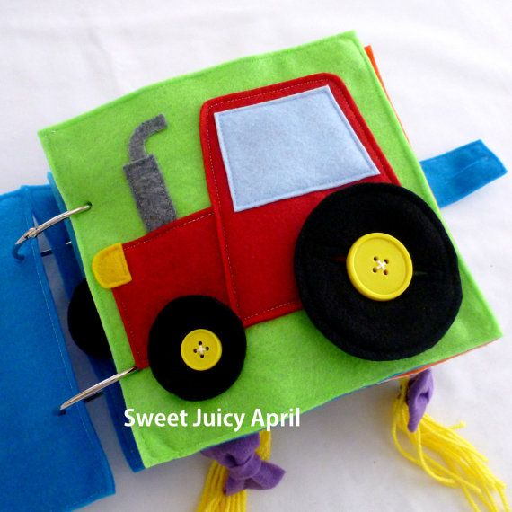Button Wheels Tractor Quiet Book Page