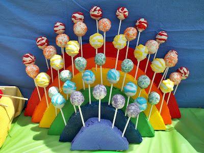 DIY Tutorial- Rainbow Cake Pop Stand! For more great party ideas visit GetThePartyStarted www.getthepartystarted.etsy.com