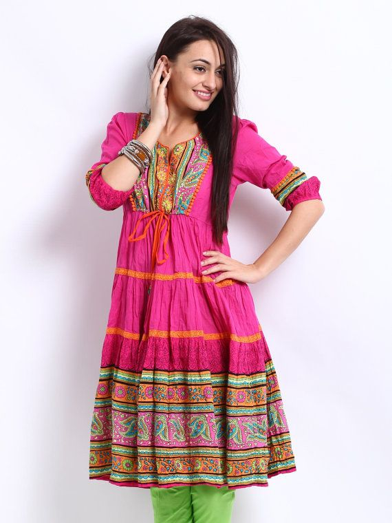 Women Pink Printed Anarkali Kurta
