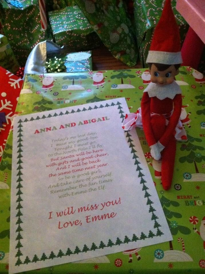 elf on the shelf goodbye letter for christmas eve ideas