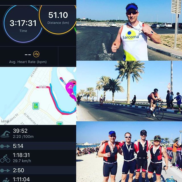 Thanks for a great photo and comments from @liamjoyce. #almamzar Olympic triathlon done! 5 down and only #ironman703 left in the #sweatysix . Time was 3h17 so beat the double of my previous sprint tri. Got cheered in by rest of @triw4nkers and @rebeccajarvest which helped! Still raising money for @sarcoma_uk for their support with my cousin @olivercj82 . Link is www.justgiving.com/fundraising/liam-joyce5  #2xutriathlondubai #garminforerunner920xt #mamzartri #sarcomauk