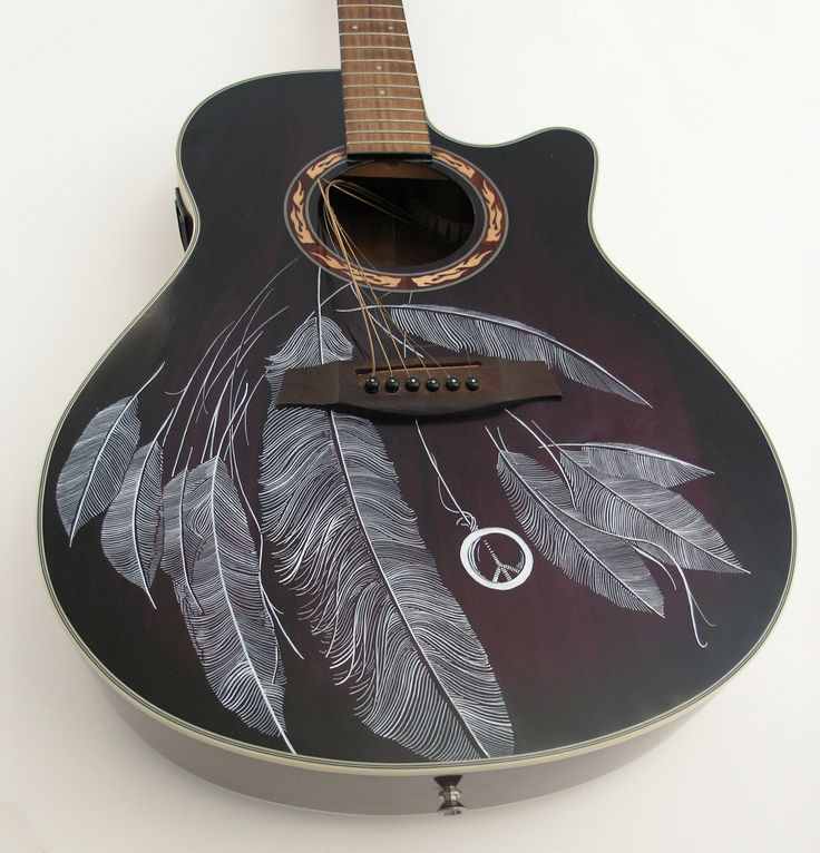 Feathers Guitar art by Patrick Fisher http://amazingguitargifts.com