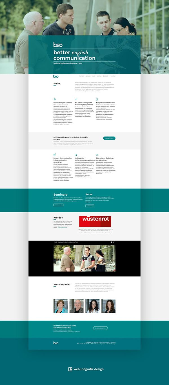 bec2 - Business Englisch mit Business-Profis  Zeitgleich mit einem allgemeinen Refresh der Corporate Identity, wurde für die seit 1997 in Salzburg angesiedelten kanadischen Business Englisch Trainer Janet Sneddon und Larry Reid ein neuer Webauftritt für ihre Sprachschule bec2 konzipiert und realisiert.
