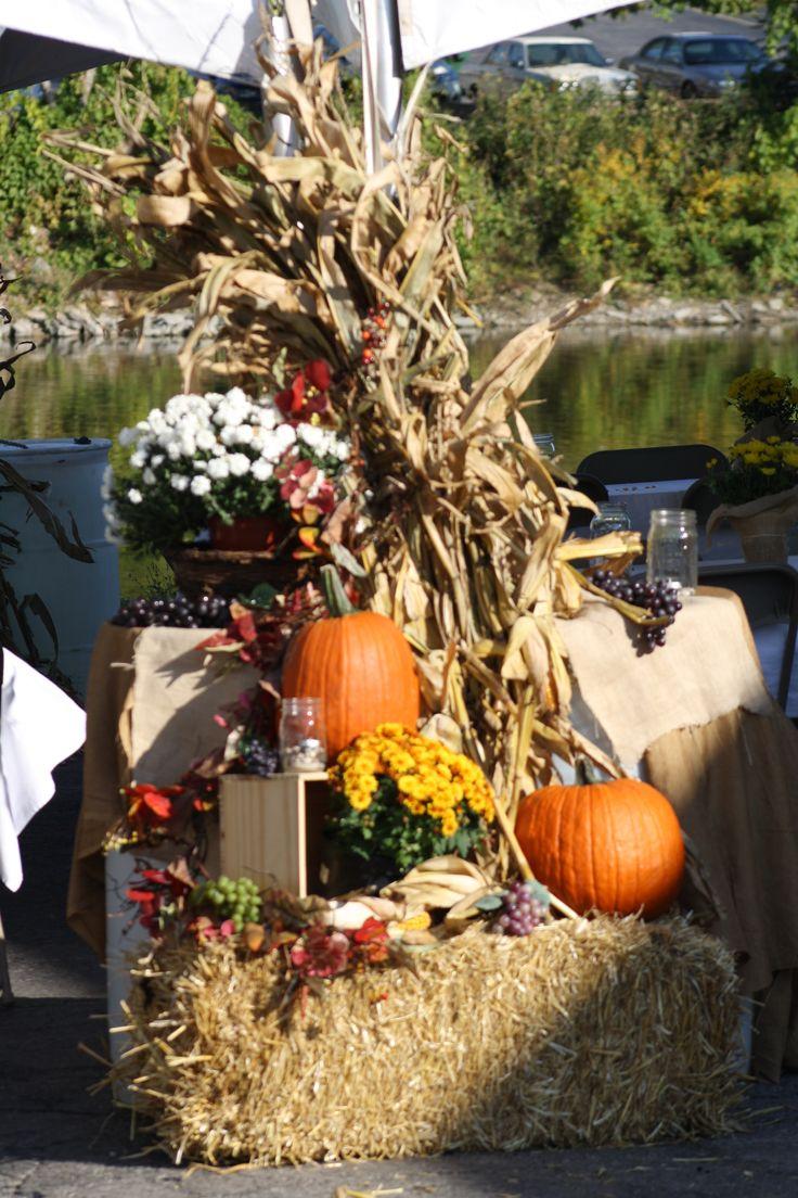 Fall Decor Straw Pumpkins Mums Corn Stalks Holiday