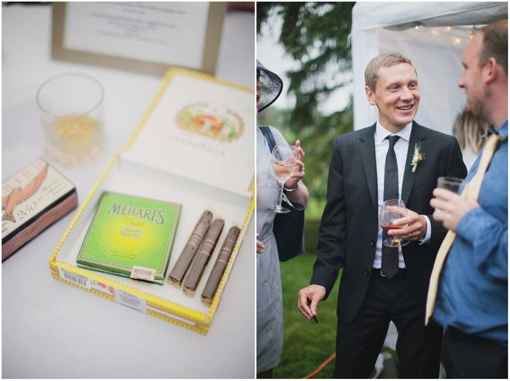 Cigars and whiskey for the boys!  More of this back yard tent wedding on the blog!