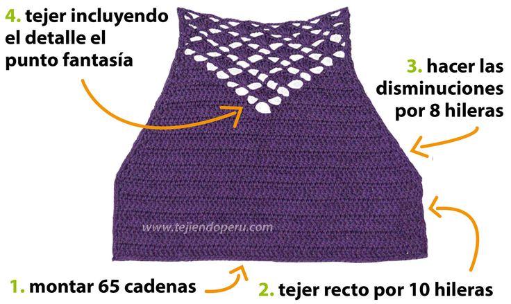Crochet paso a paso: lindo top con detalle en punto fantasía. Súper fácil de hacer... como para tejerlos en varios colores!