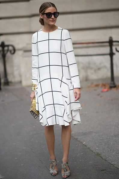 #OliviaPalermo in a black & white grid print dress ♥