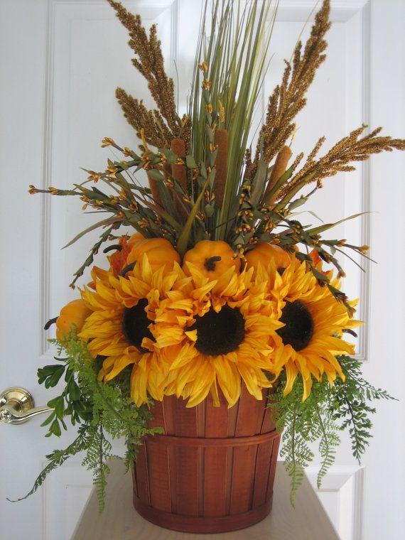 SUNFLOWER PUMPKIN Arrangement- Country Fall Autumn Centerpiece -Free Shipping via Etsy