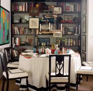 Nathan Turner Library Dining Room Skirted Table Black White Art On Bookshelves