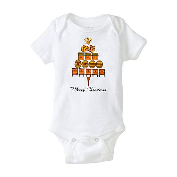 $14.95 on etsy - Honey Bee Christmas Tree Baby Onesie - Adorable Naturalist way to celebrate the holidays.  Perfect for beekeeping families.