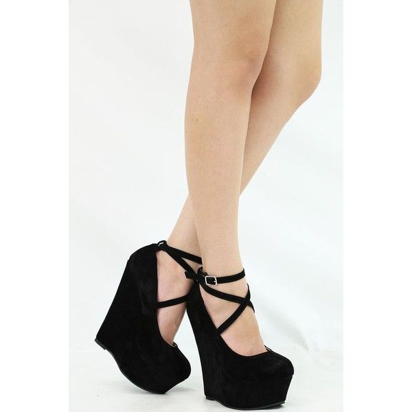 CLOSED TOE CRISS CROSS STRAPPY ANKLE STRAP MARYJANE WEDGE HEEL... ❤ liked on…