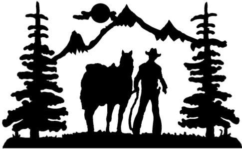 Horse Trail Rider Silhouette   Cowboy Rider Wall Art  Powered By