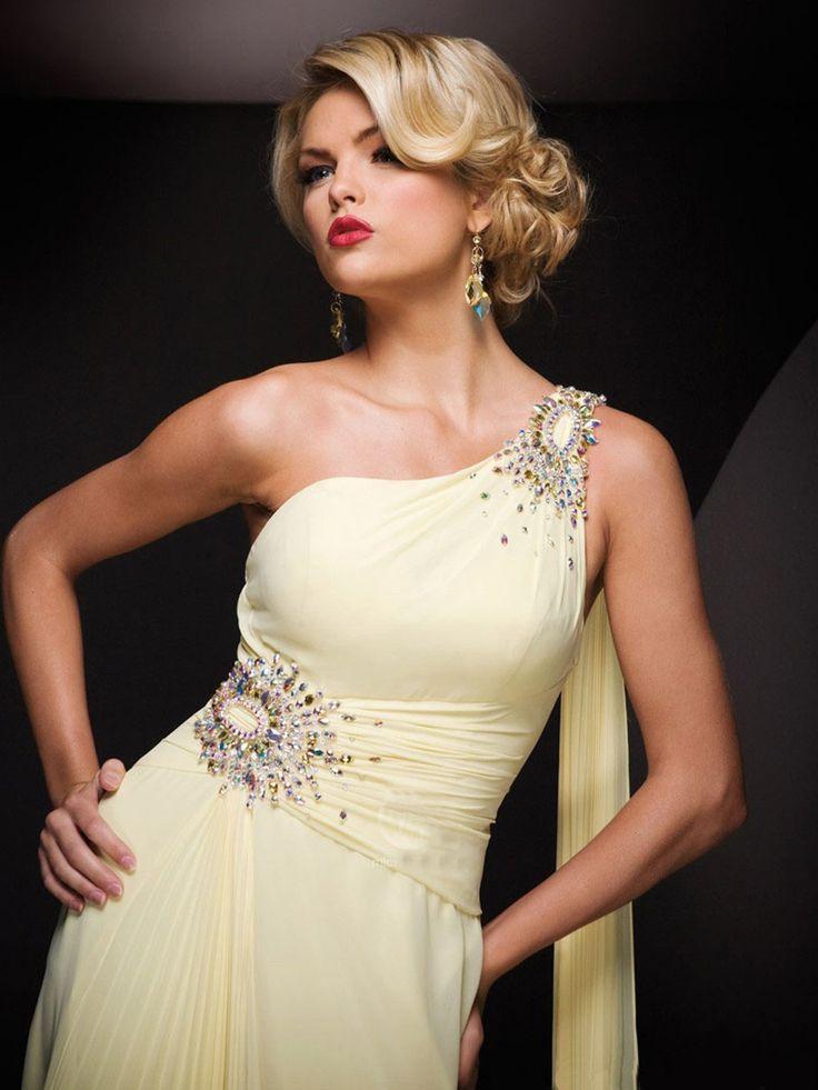 Fascinating One Strap Yellow Chiffon Colorful Beads Prom Dress / Evening Dress