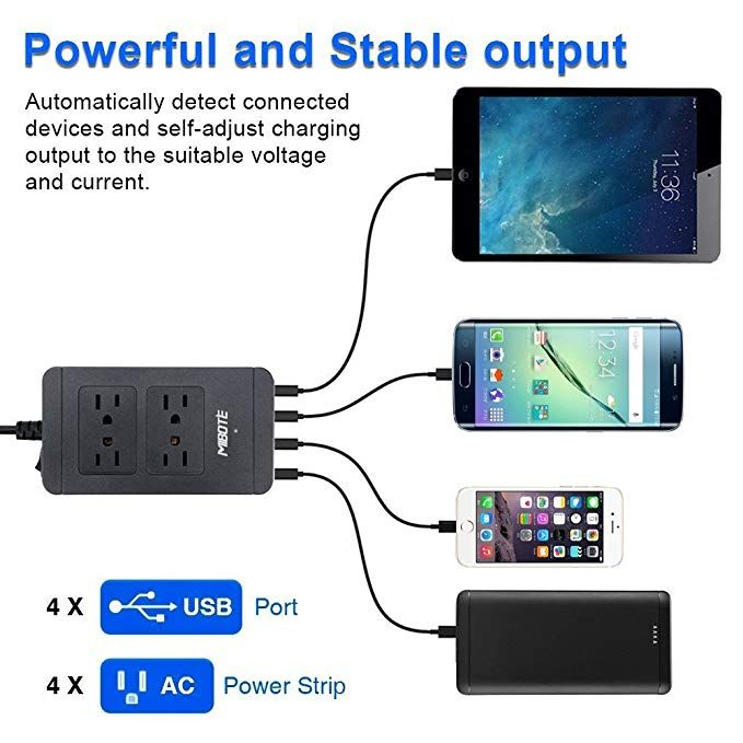 Mibote Power Strip With Usb Charger Mibote Smart 4 Outlet Surge Protector Power Bar With 4 Port Usb Charger 6ft Power Cord 2500w 100 Power Bars Powerbank Usb