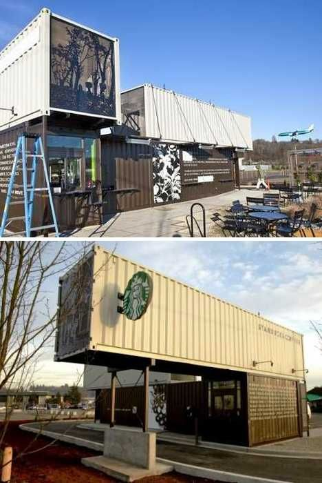 Drive through Starbucks made from 4 Shipping Containers. Tukwila, Washington.