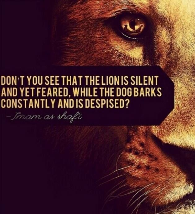 """[Quotes] """"Don't you see that the lion is silent.."""" - Imam Shafi'i. follow @dquocbuu like and repin it if you love it"""