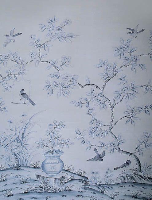 Europa stijl elegante handgeschilderde zijden behang schilderen bloemen met vogels wandbekleding veel patronen en achtergrond optioneel