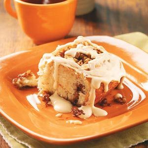 Apple Cider Cinnamon Rolls Recipe -Feeling creative, I put an apple spin on a traditional cinnamon roll recipe. The results were yummy! A panful is perfect for a weekend morning in autumn.—Kim Forni, Claremont, New Hampshire