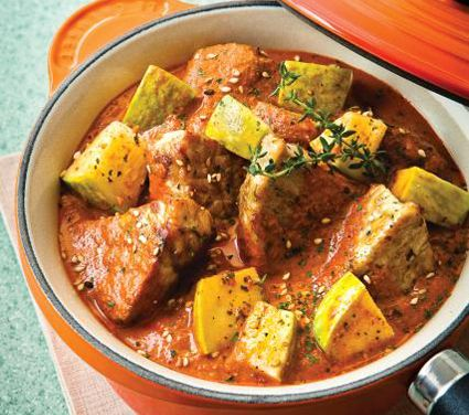 Pipian rojo con cerdo y chilacayotes, comida Méxicana | Comida ...