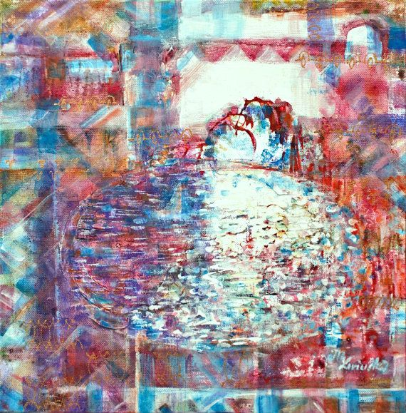 "Fine art print, red bordeaux blue giclee print on canvas, Marilion Fine Art,""BY THE LAKE"""