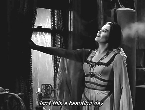 "Yvonne De Carlo as Lily Munster, admires the weather on ""The Munsters"""