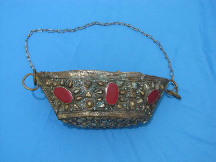 ANTIQUE KASHKUL BEGGING BOWL INLAID WITH STONES  ISLAMIC PERSIAN