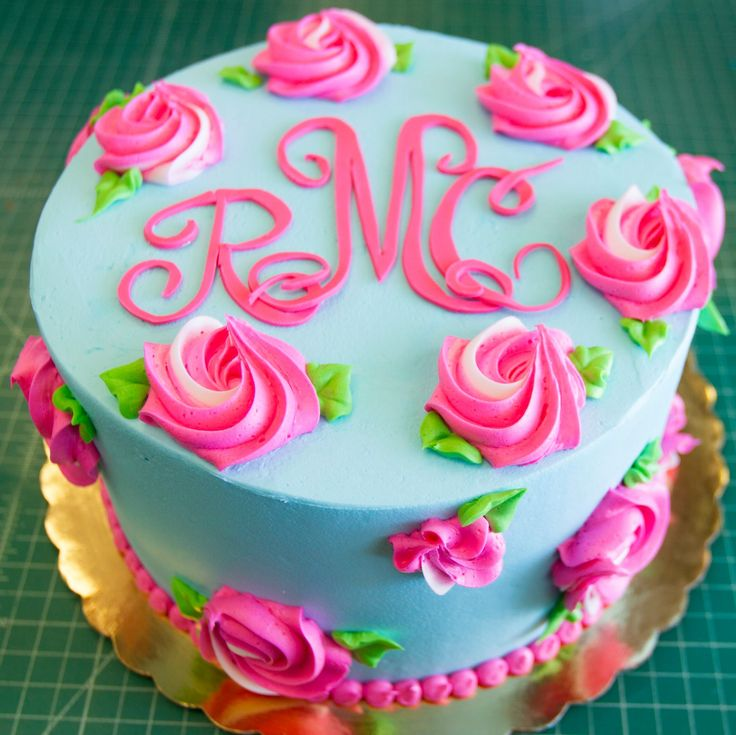 Blue and pink rosette cake - cake #109.