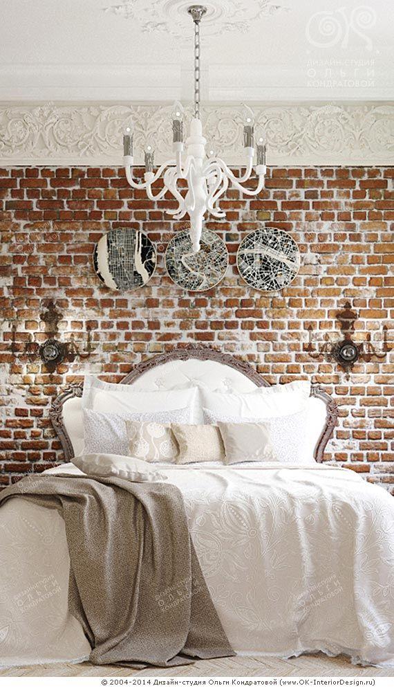 Кирпичная кладка и декор прикроватной зоны спальни http://www.ok-interiordesign.ru/blog/loft-i-ampir-v-interyere-spalni.html