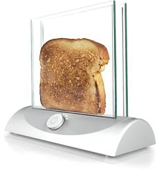 Genius: This transparent toaster allows you to see the bread while it is toasting so you're never surprised by toast that comes out too dark.Toaster Allowance, Cleanses, Technology, Dark, Burnt Toast, Toaster Kitchens, Blog, Transparent Toaster So, The Breads