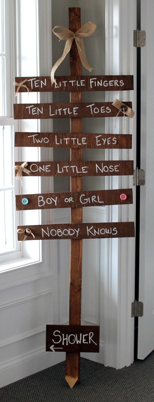 """""""Ten Little Fingers Ten Little Toes"""" Gender Neutral Baby Shower Sign ~ Simple and cute... Scrap pieces of wood nailed to the taller piece, and then paint the words on it."""
