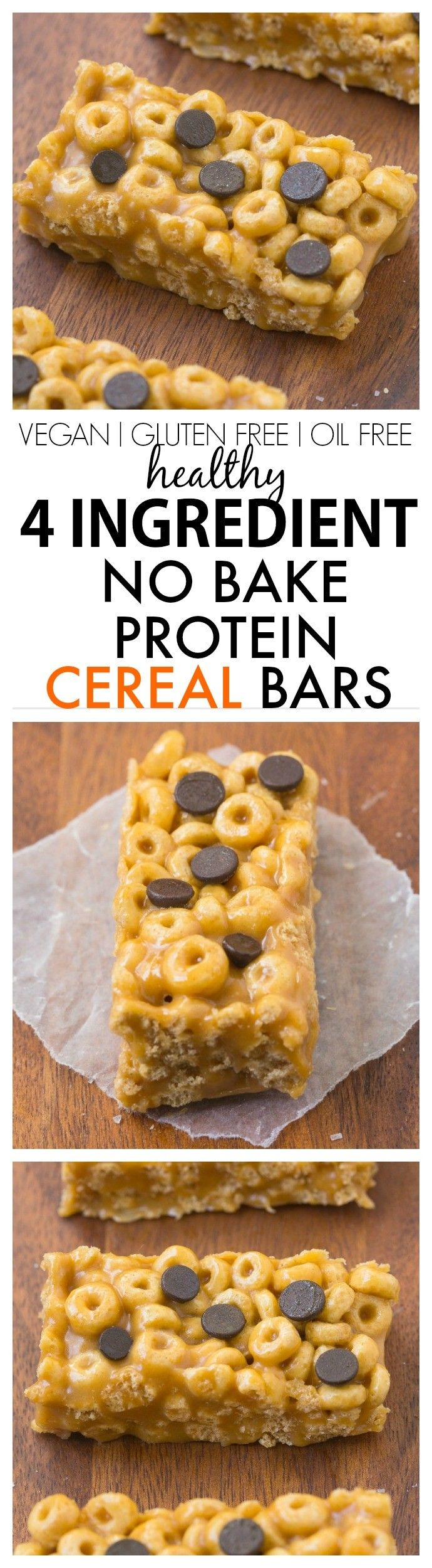Healthy 4 Ingredient No Bake Protein Cereal Bars- Super easy, healthy, homemade …