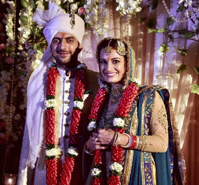 Newly wed Dia Mirza with her husband Sahil Sanga