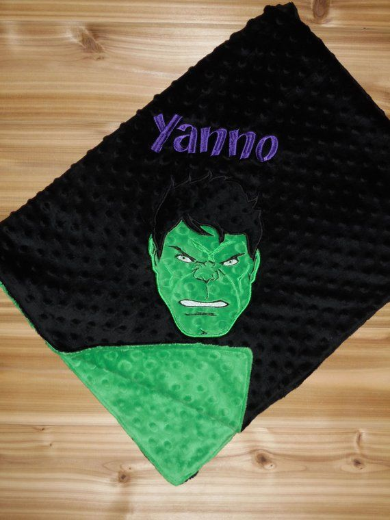fa9e1bc2e2 Superhero Blanket- Custom Monogrammed Minky Blanket - Green   Black Minky - Embroidered  Superhero fa