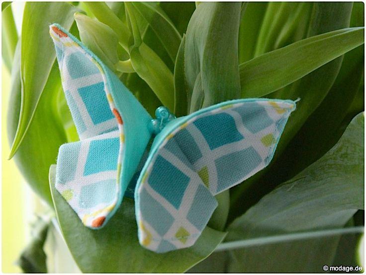 Origami Schmetterling aus Stoff Naehanleitung Stoffreste modage 2